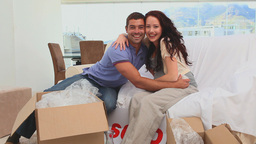 Young couple moving in their new home Footage