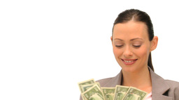 Good looking brunette holding her cash Footage