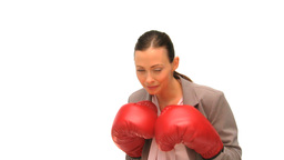 Brunette lady with boxing gloves Footage