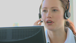 Business woman in a call center Footage