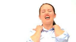 Woman having a neck pain Stock Video Footage