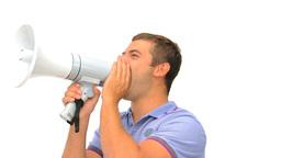 Man shouting through a megaphone Live Action