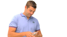 Happy man counting his money against a white backg Stock Video Footage