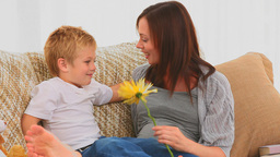 Boy offering a flower to his pregnant mother Stock Video Footage