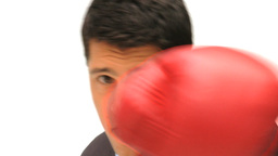 Man boxing the camera Stock Video Footage