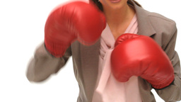 Woman with boxing gloves Stock Video Footage