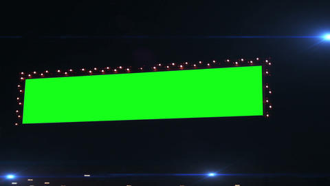 0793 Flashing Lights Movie Sign with Green Screen Footage
