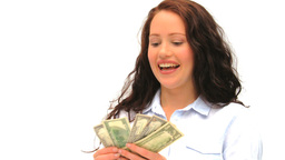 Brunette showing off her cash Stock Video Footage