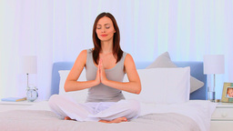 Relaxed woman doing yoga Footage