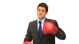 Businessman with red boxing gloves Footage
