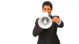 Man shouting through a megaphone Stock Video Footage