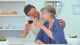 Elderly couple drinking wine Stock Video Footage