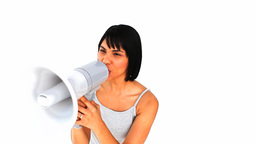 Asian woman shouting through a megaphone Footage