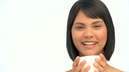 Cute asian woman drinking a coffee Stock Video Footage