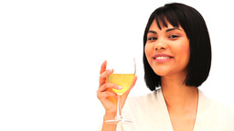 Attractive asian enjoying a glass of white wine Stock Video Footage