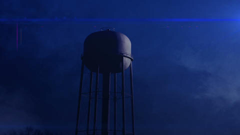 0815 Water Tower at Night with Heavy Fog, HD Footage