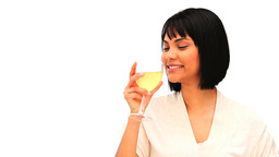 Asian female enjoying a white wine Footage