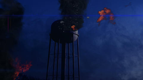 0816 Water Tower Blown Up at Night, 4K Footage