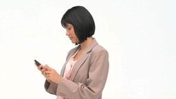 Asian business woman writing an sms Stock Video Footage