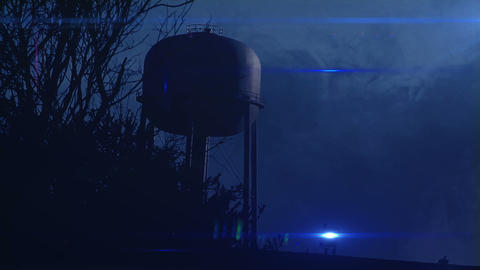 0823 Water Tower at Night with Heavy Fog, HD Footage