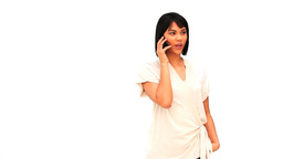 Casual chinese woman speaking on the phone Footage