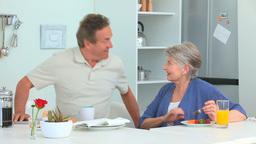 Elderly couple taking the breakfast Footage