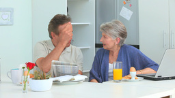 Mature couple talking during the morning Footage