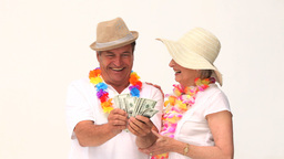 Couple in vacation showing off their cash Footage