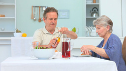 Middle Aged Couple Having A Lunch stock footage