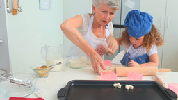 Grandmother an dher grand daughter cooking togethe Footage