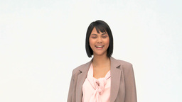 Business woman in suit showing us something Stock Video Footage