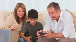 Family playing video games Stock Video Footage