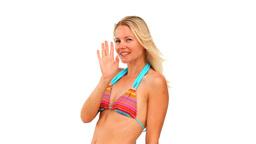 Cute blond woman in swimsuit Footage