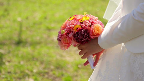 Bride Is Holding A Bouquet stock footage
