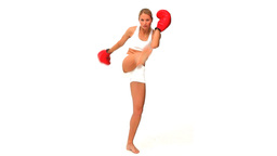 Blonde woman with red boxing gloves Footage