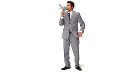 Elegant man shouting through a loudspeaker Stock Video Footage