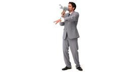 Elegant man shouting through a loudspeaker Footage