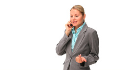 Relaxed business woman speaking on the phone Footage