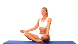 Cute woman meditating Stock Video Footage