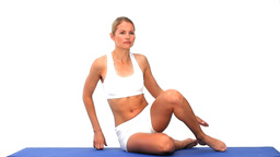 Blonde lady meditating Stock Video Footage