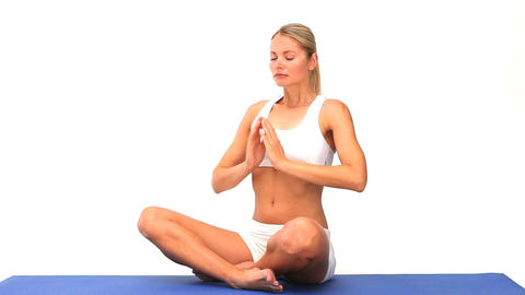 Woman doing exercise of relaxation Footage