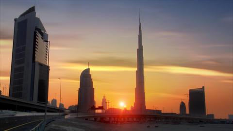 perfect time lapse traffic sundown burj dubai Stock Video Footage