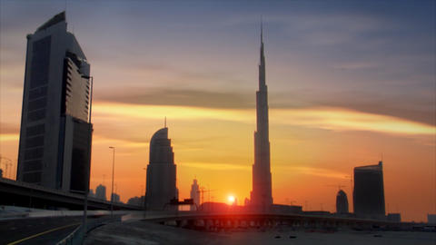 perfect time lapse traffic sundown burj dubai Footage
