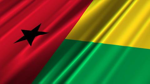 BissauGuineaFlagLoop02 Stock Video Footage