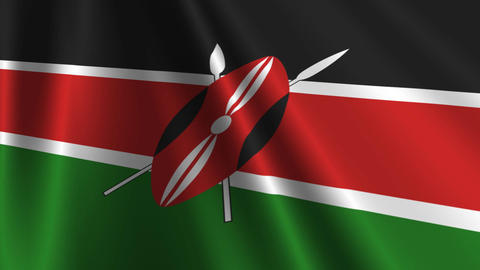 KenyaFlagLoop03 Stock Video Footage