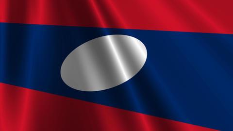 LaosFlagLoop03 Stock Video Footage