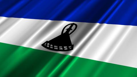 LesothoFlagLoop02 Stock Video Footage