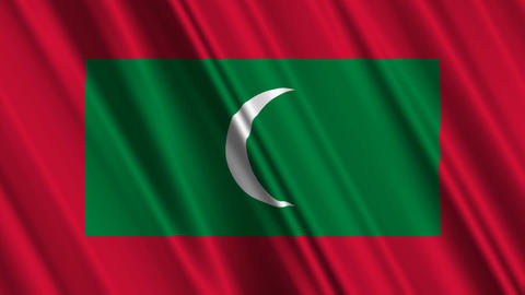 MaldivesFlagLoop01 Stock Video Footage