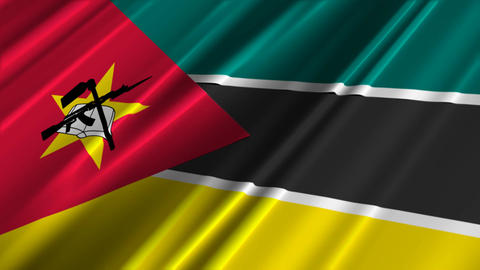 MozambiqueFlagLoop02 Stock Video Footage