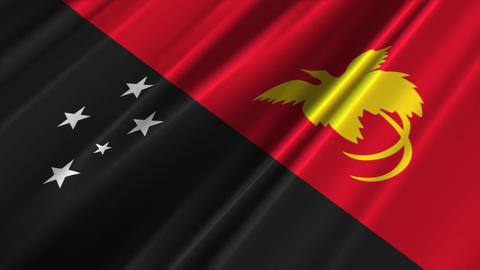 PapuaNewGuineaFlagLoop02 Stock Video Footage